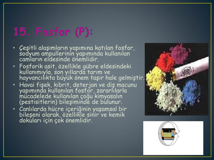15. Fosfor (P):