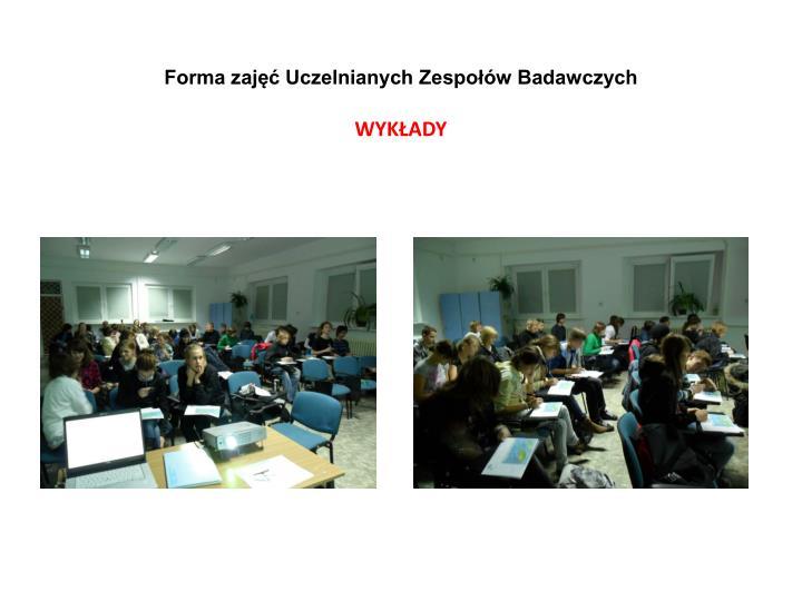 Forma zajęć Uczelnianych Zespołów Badawczych