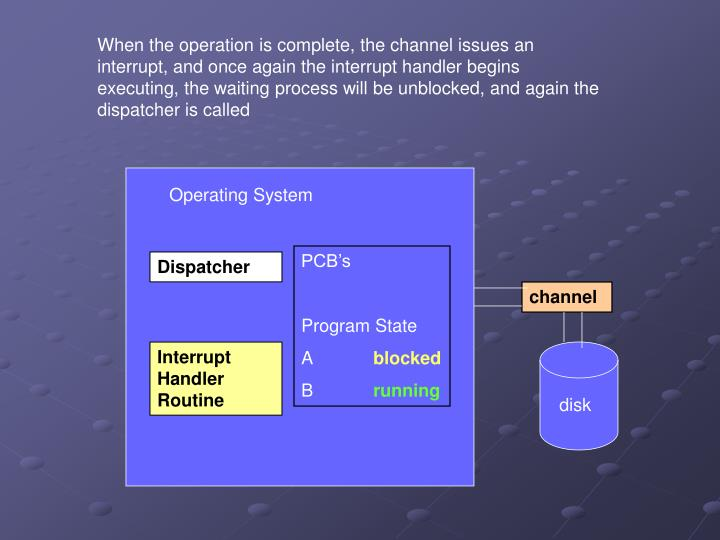 When the operation is complete, the channel issues an interrupt, and once again the interrupt handler begins executing, the waiting process will be unblocked, and again the dispatcher is called