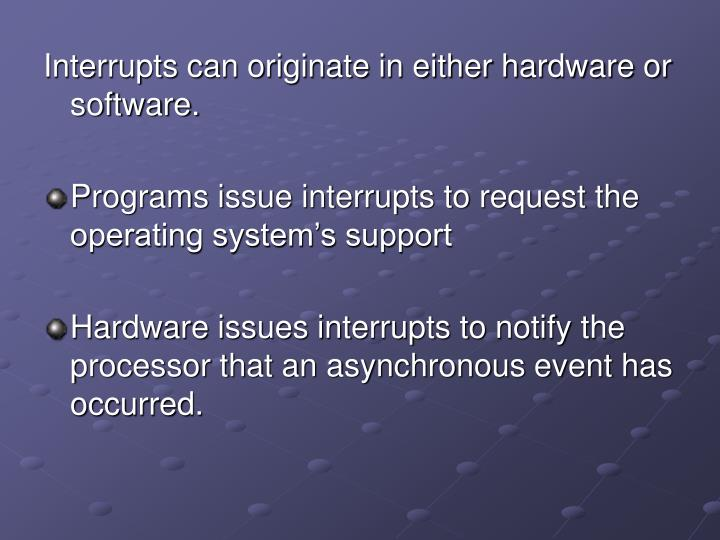 Interrupts can originate in either hardware or software.