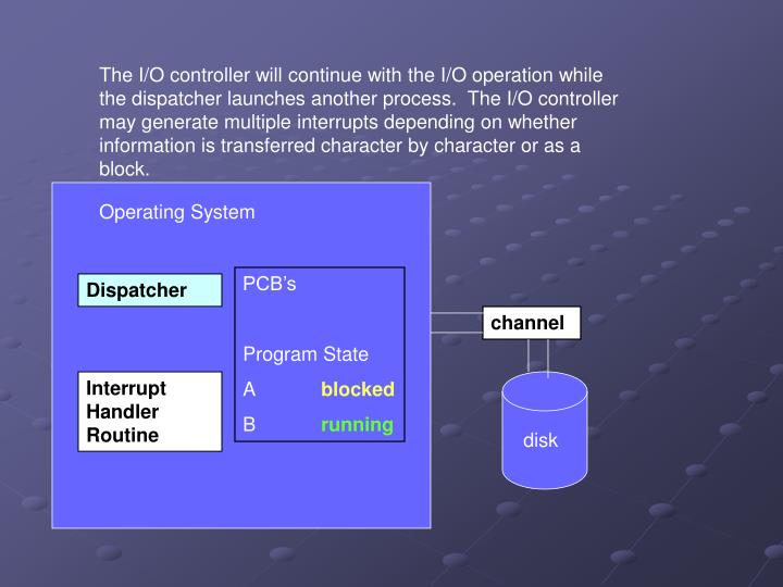 The I/O controller will continue with the I/O operation while the dispatcher launches another process.  The I/O controller may generate multiple interrupts depending on whether information is transferred character by character or as a block.