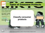 types of consumer products