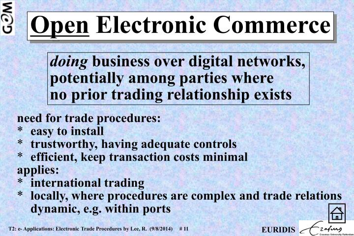 need for trade procedures: