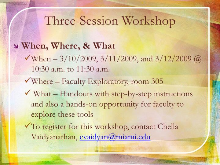 Three-Session Workshop