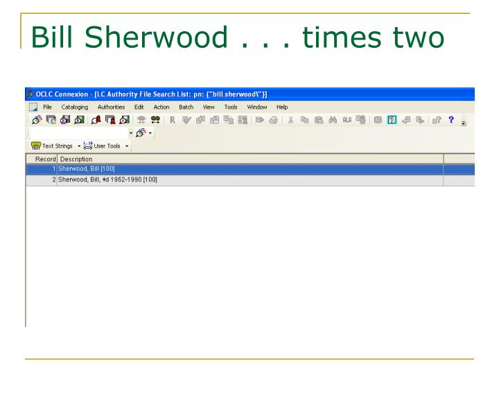 Bill Sherwood . . . times two