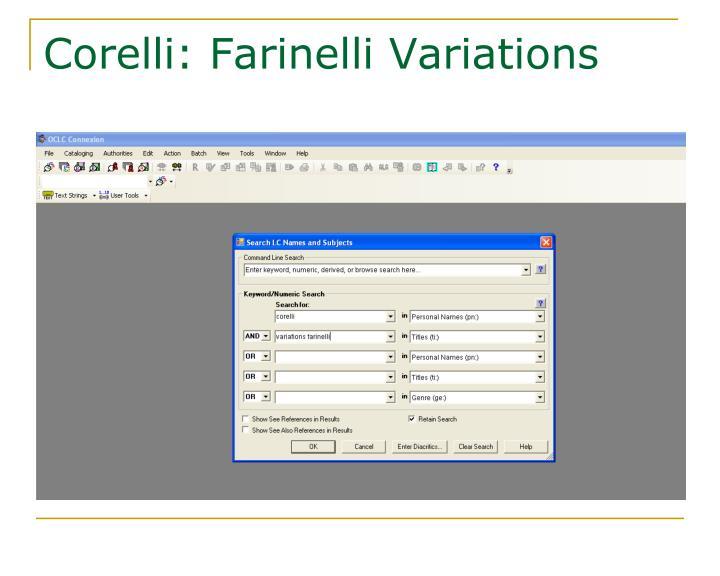 Corelli: Farinelli Variations