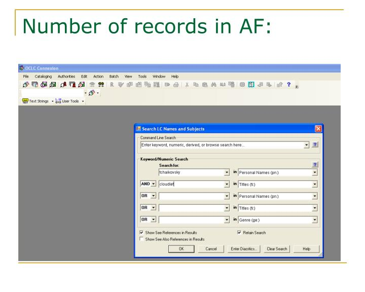 Number of records in AF: