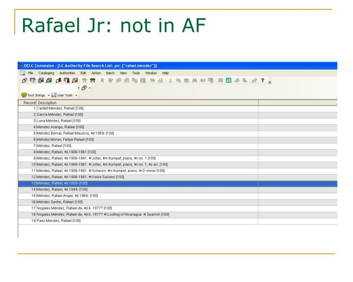 Rafael Jr: not in AF