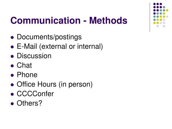 Communication - Methods