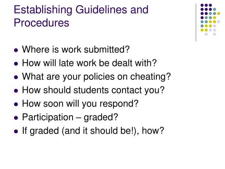 Establishing Guidelines and Procedures