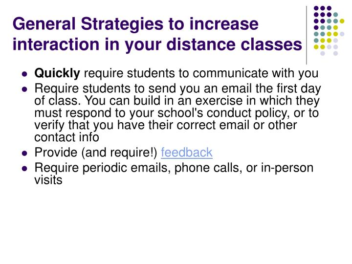 General Strategies to increase interaction in your distance classes
