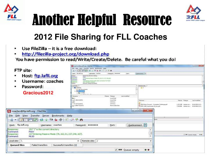 2012 File Sharing for FLL Coaches