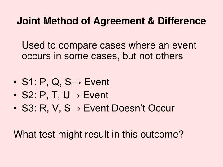 Joint Method of Agreement & Difference