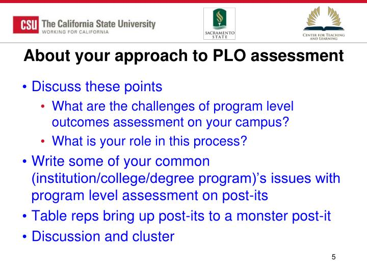 About your approach to PLO assessment