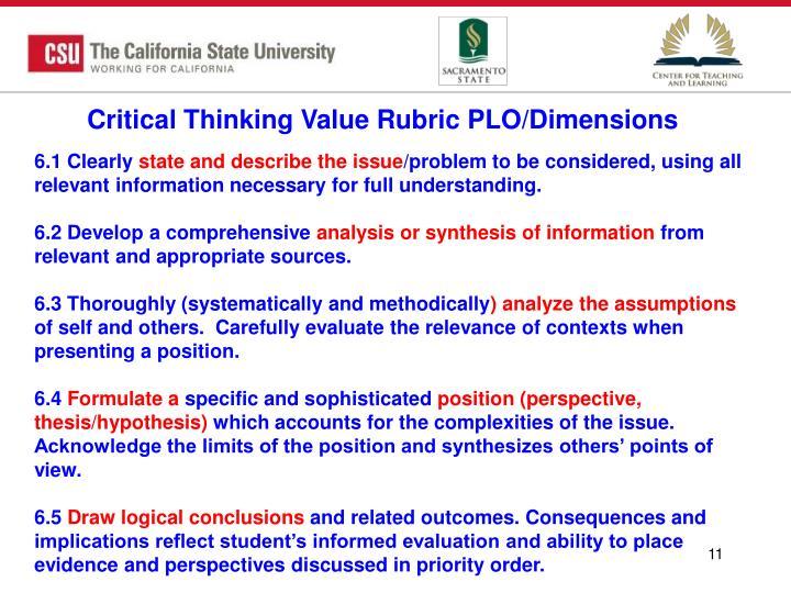Critical Thinking Value Rubric PLO/Dimensions