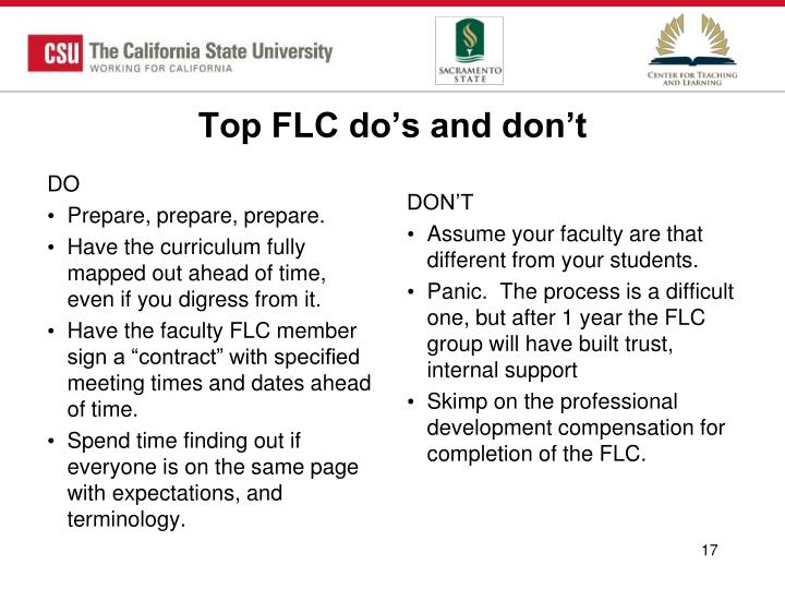 Top FLC do's and don't