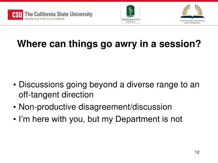Where can things go awry in a session?