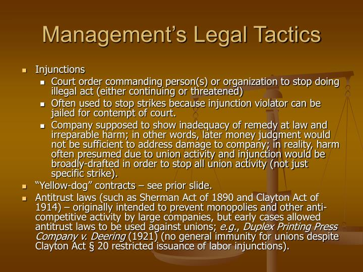 Management's Legal Tactics