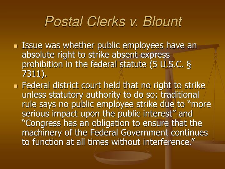 Postal Clerks v. Blount