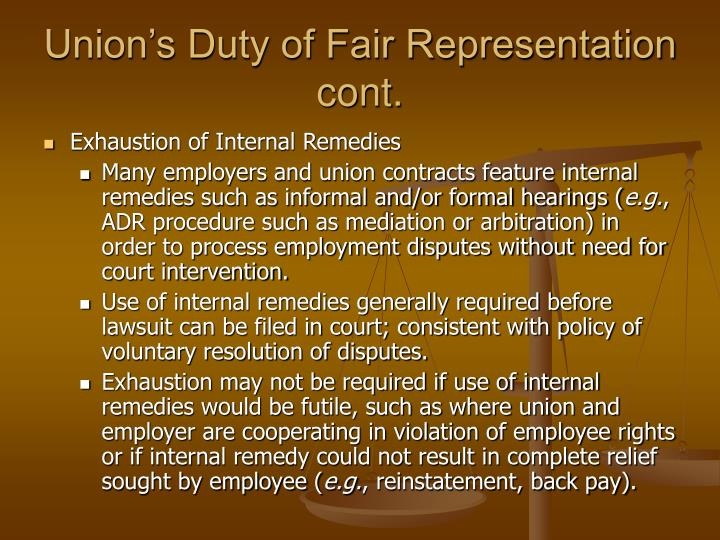 Union's Duty of Fair Representation cont.