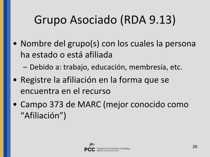 Grupo Asociado (RDA 9.13)