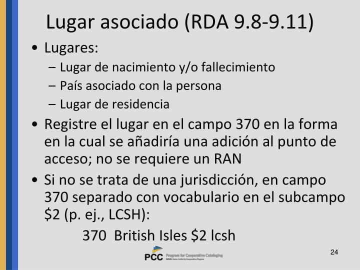 Lugar asociado (RDA 9.8-9.11)