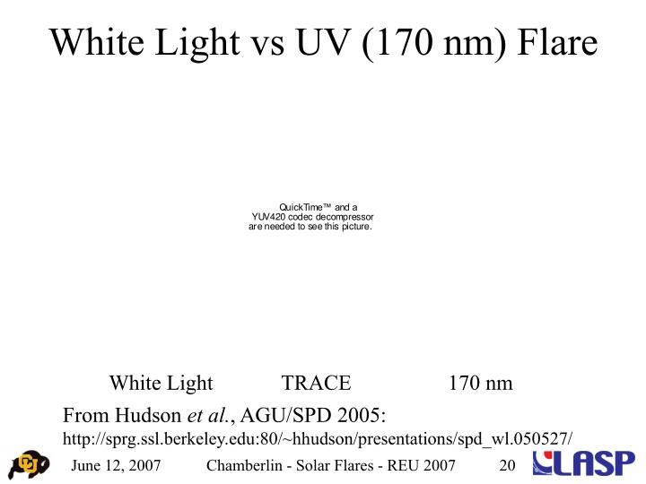 White Light vs UV (170 nm) Flare