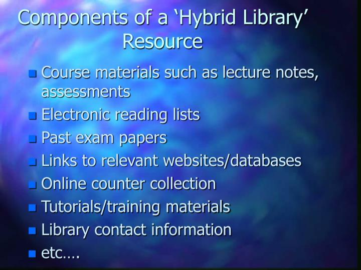 Components of a 'Hybrid Library' Resource