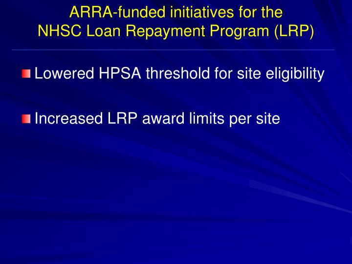 ARRA-funded initiatives for the