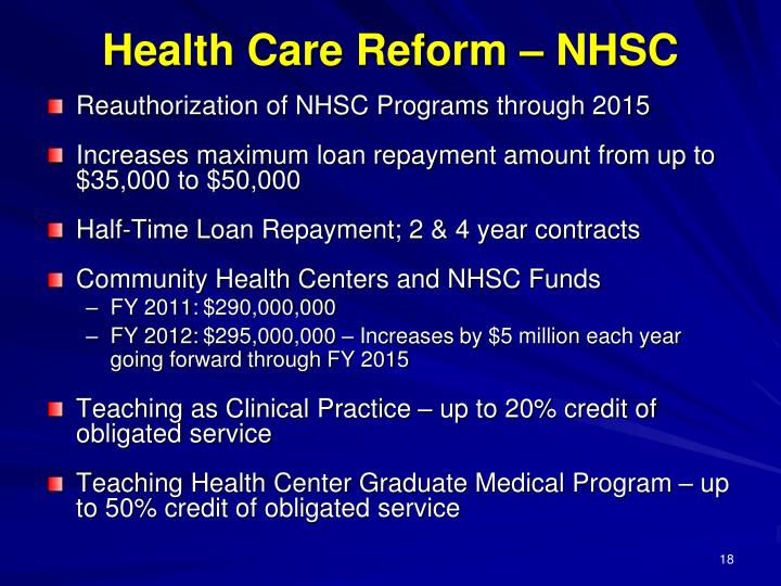 Health Care Reform – NHSC