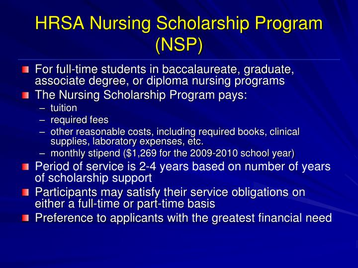 HRSA Nursing Scholarship Program (NSP)