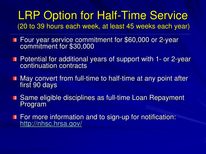 LRP Option for Half-Time Service