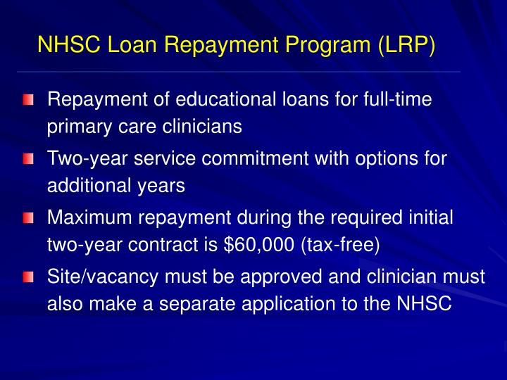 NHSC Loan Repayment Program (LRP)