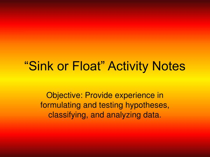 Sink or float activity notes
