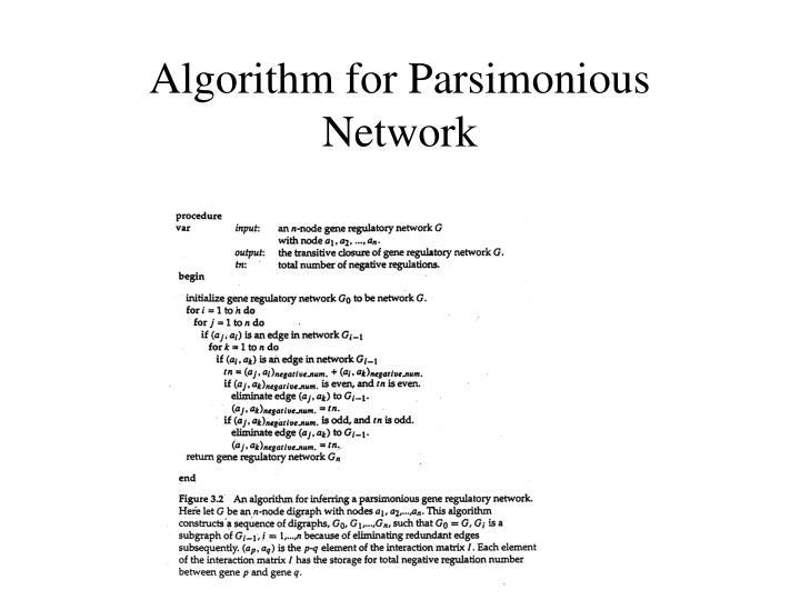 Algorithm for Parsimonious Network