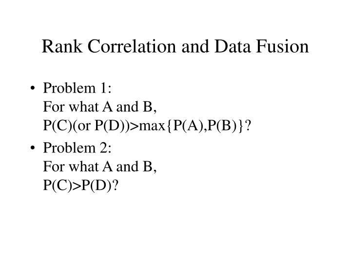 Rank Correlation and Data Fusion