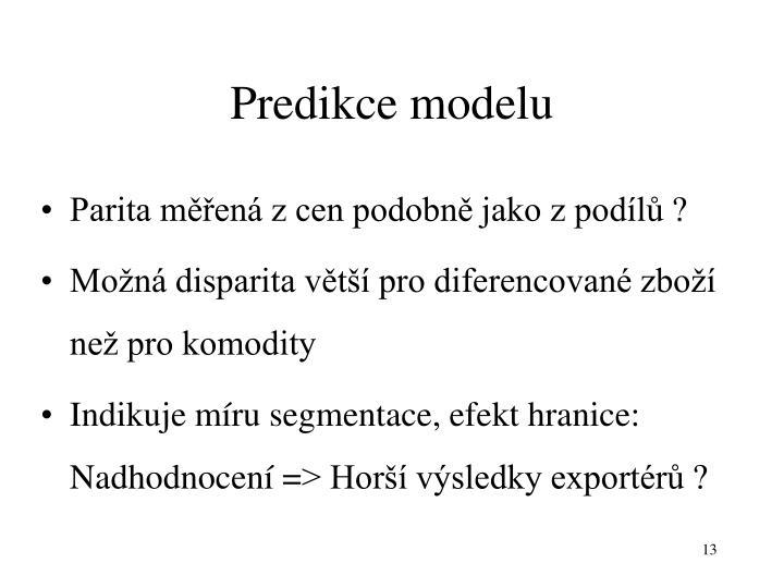 Predikce modelu