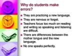 why do students make errors