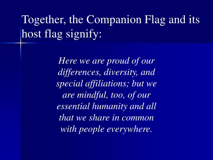 Together, the Companion Flag and its host flag signify: