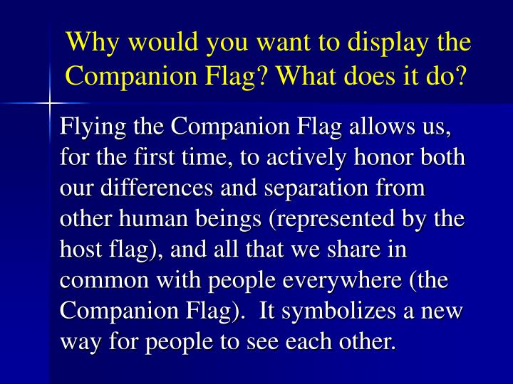 Why would you want to display the Companion Flag? What does it do?