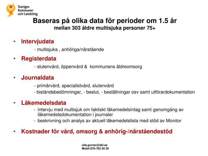Baseras på olika data för perioder om 1.5 år