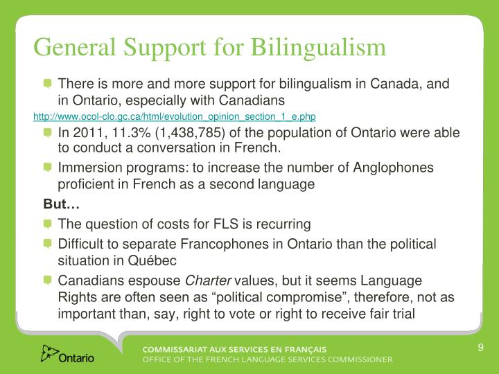 General Support for Bilingualism
