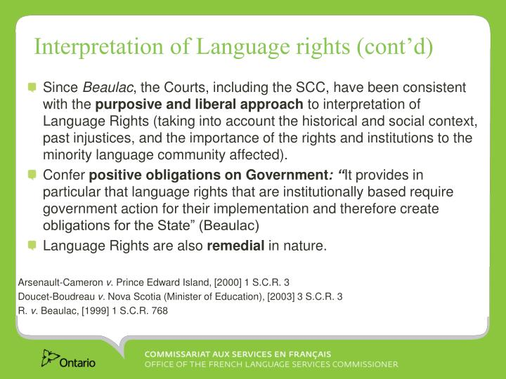 Interpretation of Language rights (cont'd)