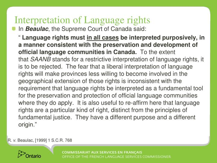 Interpretation of Language rights