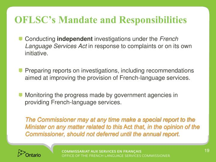OFLSC's Mandate and Responsibilities