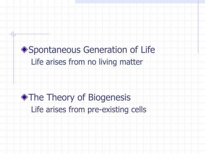 Spontaneous Generation of Life