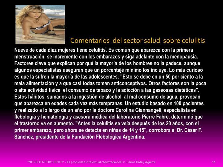 Comentarios  del sector salud  sobre celulitis