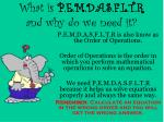 what is p e m d a s f l t r and why do we need it