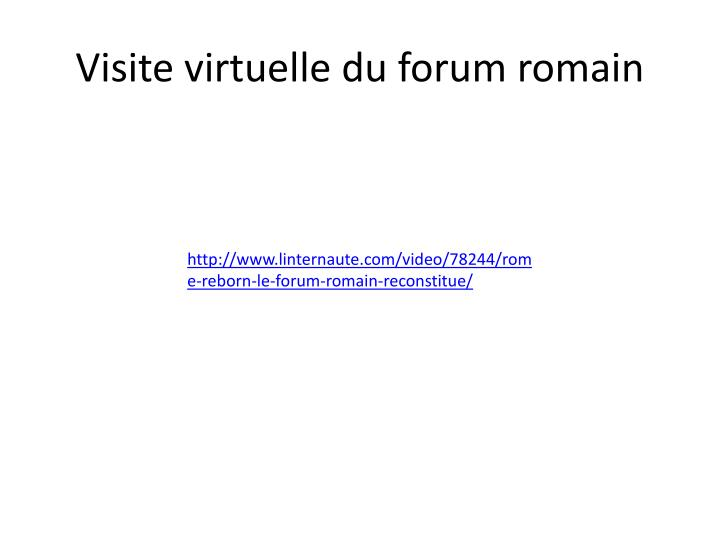 Visite virtuelle du forum romain