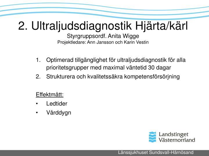 Optimerad tillgnglighet fr ultraljudsdiagnostik fr alla prioritetsgrupper med maximal vntetid 30 dagar